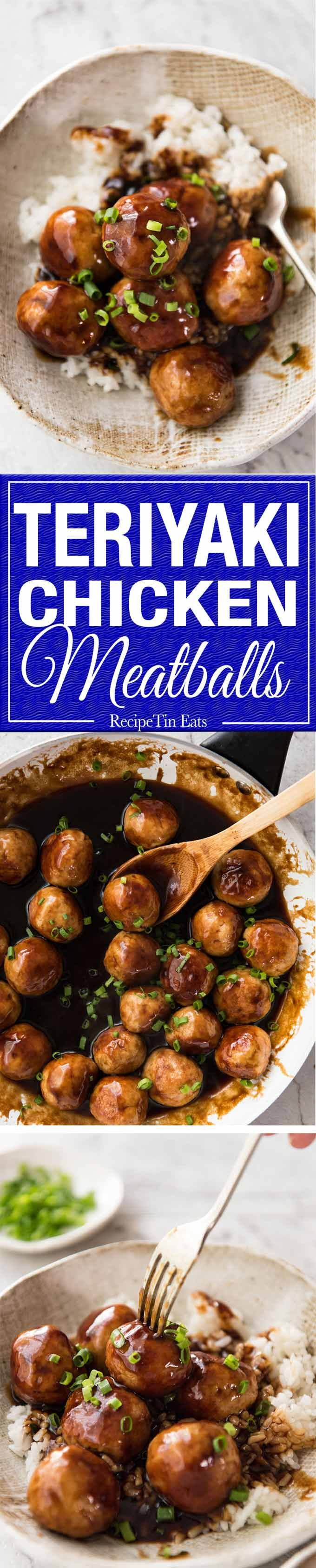 If you love juicy, plump chicken meatballs and Teriyaki sauce, you will go mad over these Teriyaki Chicken Meatballs! www.recipetineats.com