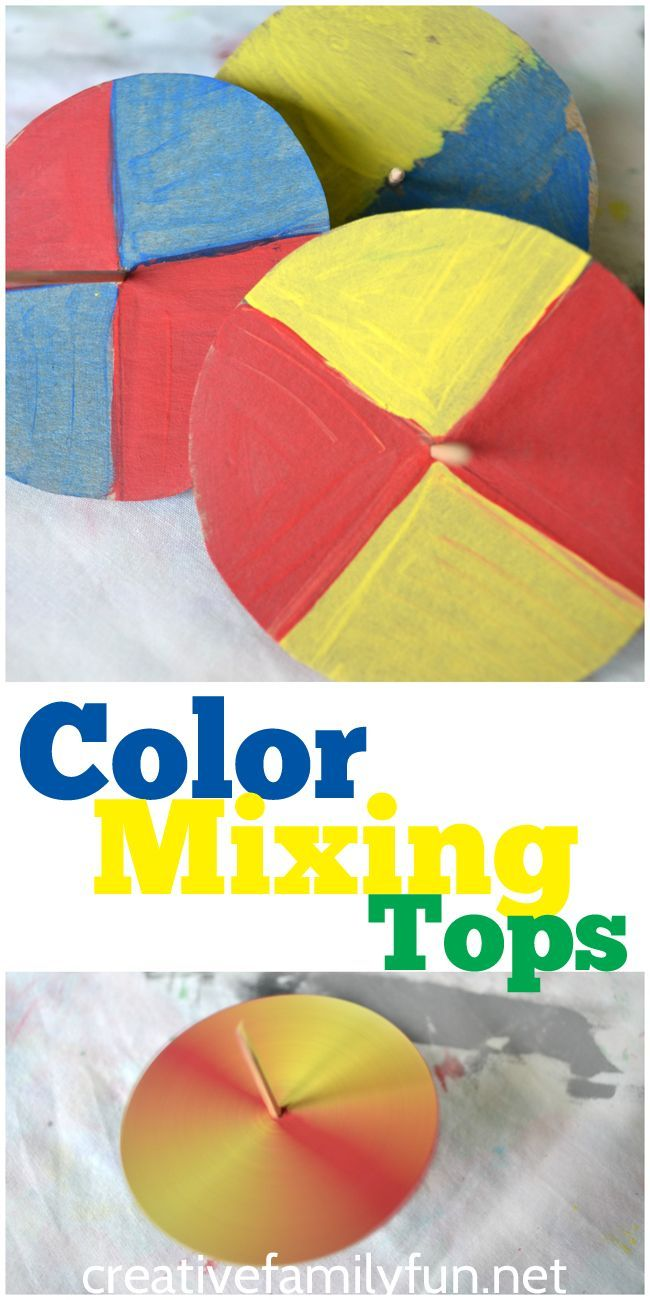 Watch the colors mix with these simple color mixing tops. A fun at-home STEAM activity.