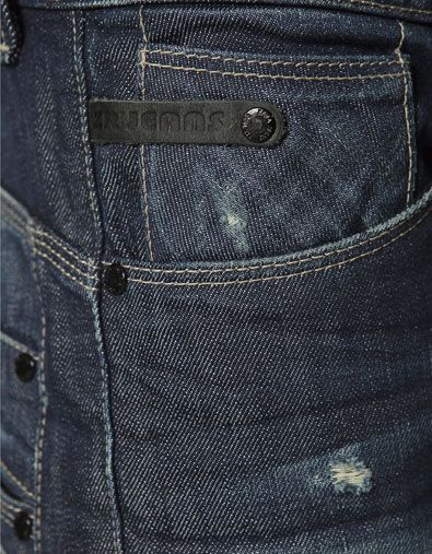 DENIM WITH LEATHER BAND - Jeans - Man - ZARA United States: Small leather detail which extends from the side seam to the center of the coin pocket and tacked down with a rivet. Would also be great in a contrast color!