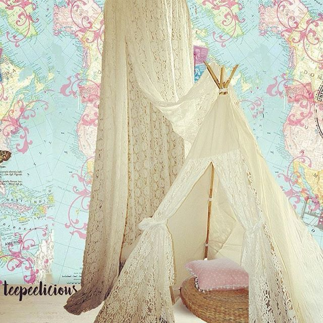 Are you a #romantic one? these  #teepeelicious #lace #teepee and #canopy is for you. #wallpaper #wallcovering #giftideas #glamping #girlydecor #onlyforgirls #roomdesign #kidsroomdecor #kidsroomideas #bamboo #glamping #nurserydecor