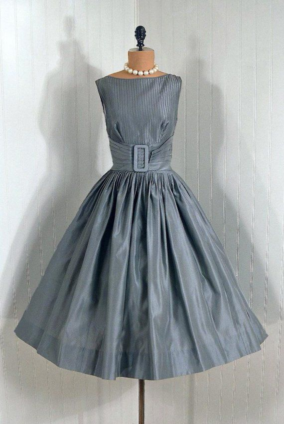 1950's Vintage Claudia Young Designer-Couture Pintuck Silver-Gray Shimmer-Silk Backless Rockabilly Bombshell Circle-Skirt Wedding Party Cocktail Dress and Matching Swing-Coat