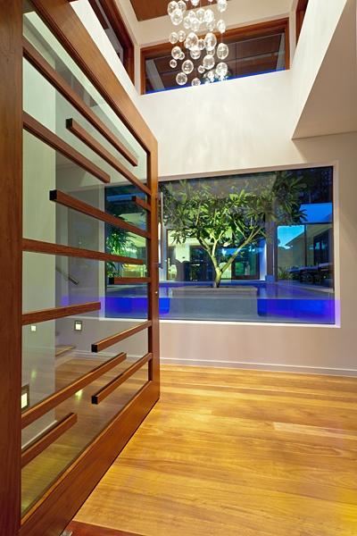 Chris Clout Design front door looking into pool