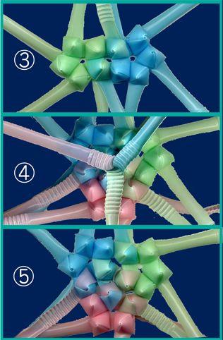 三角玉でくす玉 作り方8  ③隣と繋いで ④三つ繋ぐとこういう形です。(中央の帯の余りが邪魔なので根本で切ったのが⑤です) このままとげとげの面を表にして組み上げていきます。最後に球を閉じるところは、やはりちょっと難しいです。 中が空洞なので鈴など入れてから閉じても良いかも。