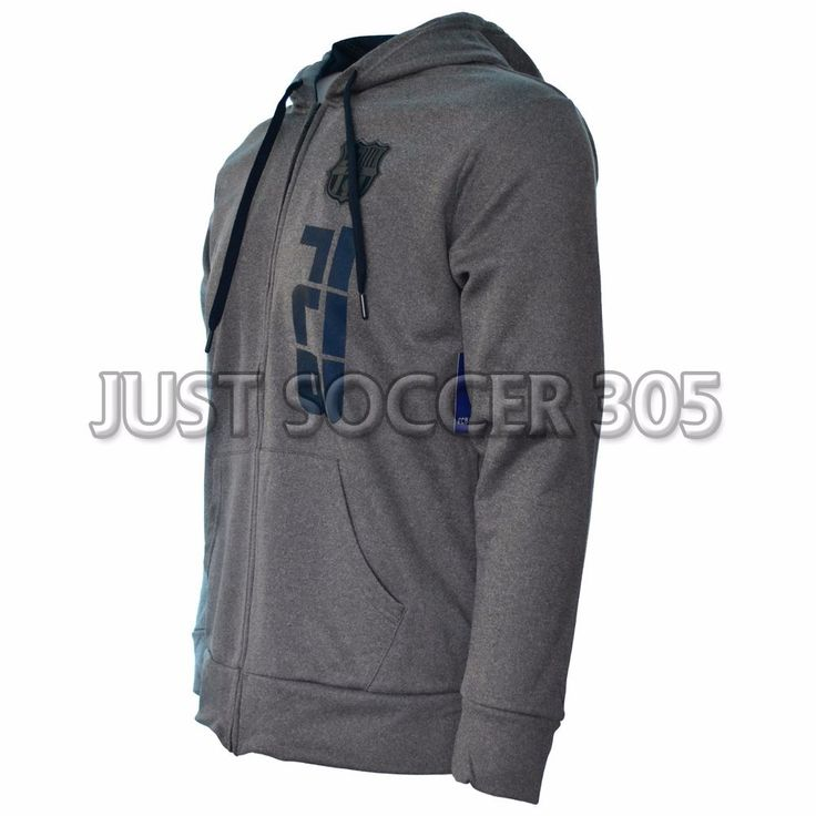Fc Barcelona Hoodie Zip Up Jacket fleece  Soccer Adult Sizes Soccer Gray #HKY #FCBarcelona