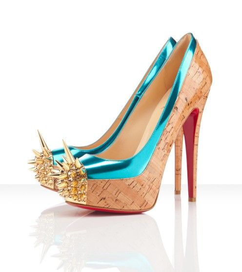 Find this Pin and more on my favorites LOUBOUTIN . Christian Louboutin  Asteroid 160 Spike Toe Cork Pumps ...