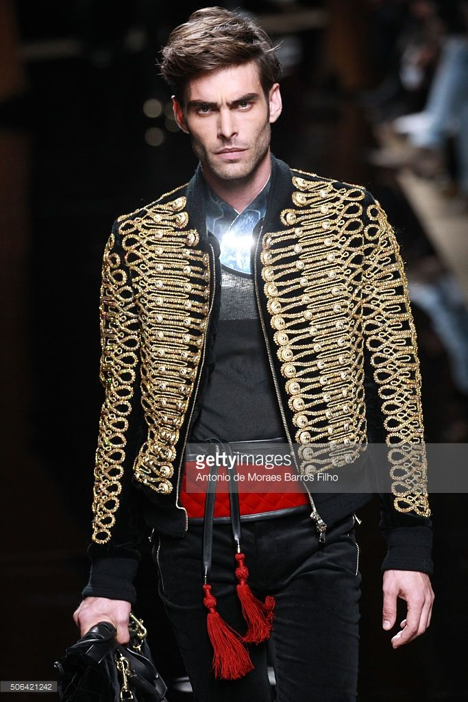 A model walks the runway during the Balmain Menswear Fall/Winter 2016-2017 show as part of Paris Fashion Week on January 23, 2016 in Paris, France.