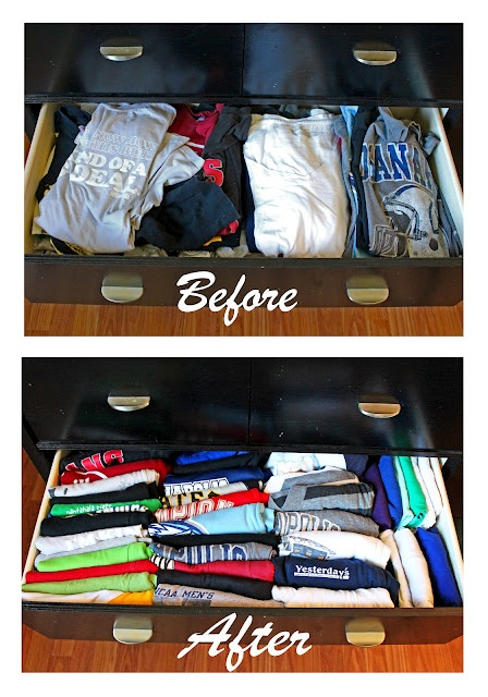 Organize your t shirt drawer you 39 re welcome for T shirt drawer organization