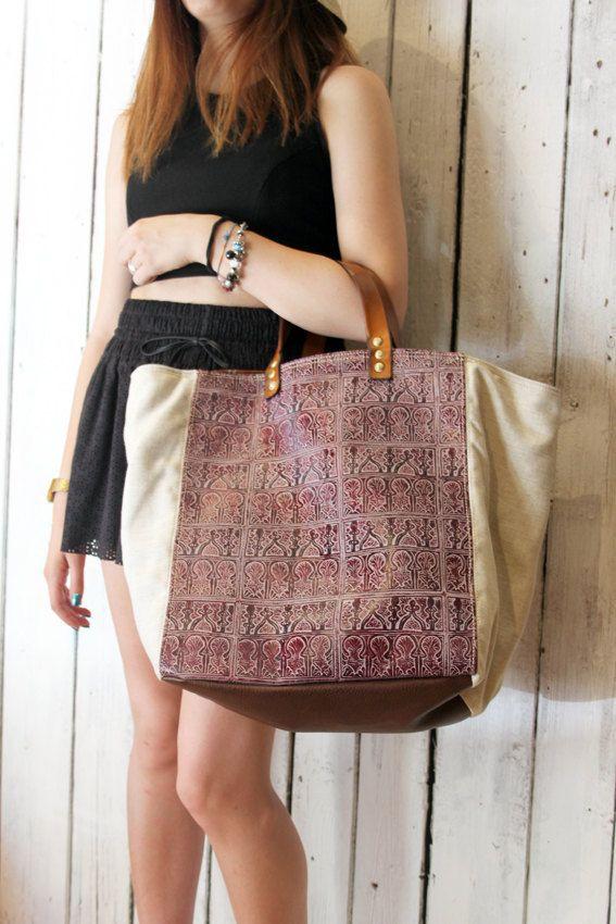 MY BAG RABAT Violet Handmade Italian Leather & Canvas Tote Handbag di LaSellerieLimited su Etsy