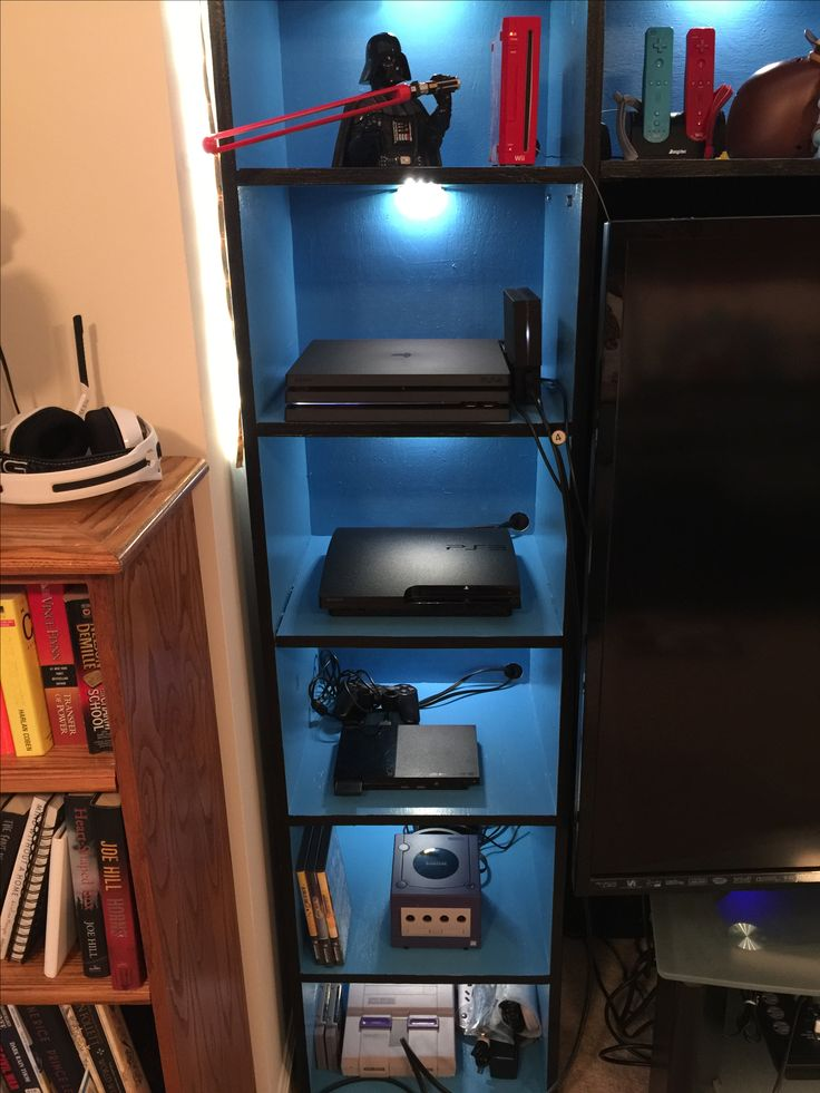 Video Game Console Cabinet With LED Lights.