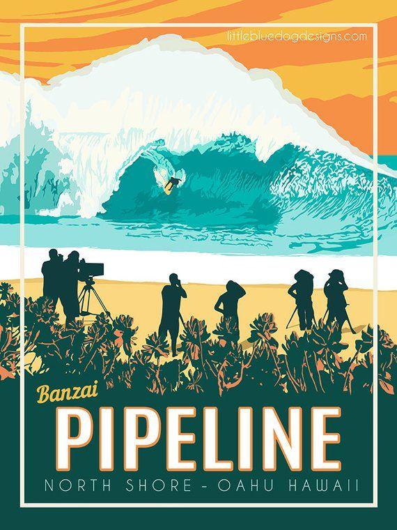 c20be3d73d Banzai Pipeline Oahu Hawaii - Vintage Travel Poster