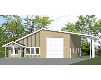 46x48 House 1 Bedroom 1 5 Bath 1157 Sq Ft Pdf Floor Etsy In 2020 Garage House Plans House Building A Shed