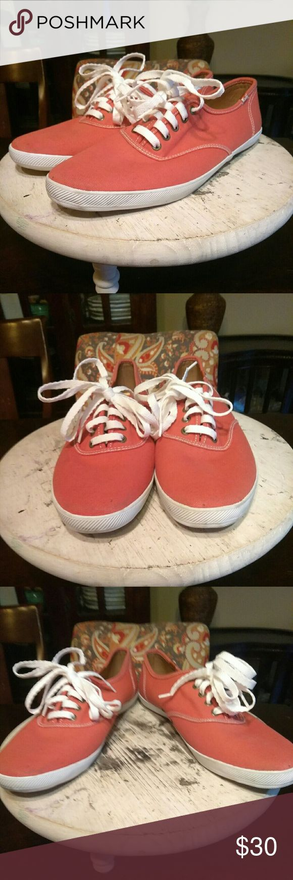 💖💜V-DAY SALE!!! Ked's-Classic Orange CLASSIC!!! Burnt orange canvas upper, original bottoms, Ked's Cushion Heel insole (super comfortable) Minimal wear on bottoms, great condition inside and out! Laces are a bit long (can be easily replaced) Keds Shoes Sneakers