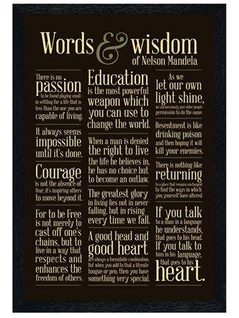 Black Wooden Framed Words & Wisdom - Nelson Mandela http ...