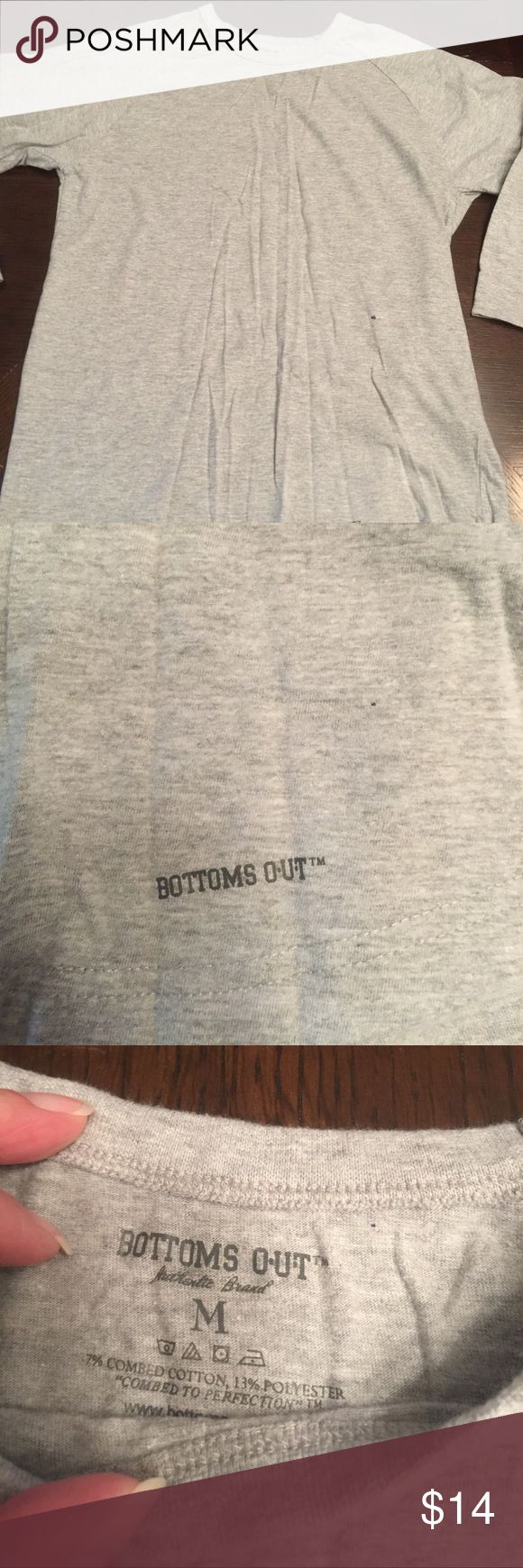 NWOT Men's Bottom's Out t-shirt NWOT Men's gray, 3/4 length sleeve Bottom's Out t-shirt. Great layering piece for Fall and Winter!! Bottom's Out Shirts Tees - Long Sleeve