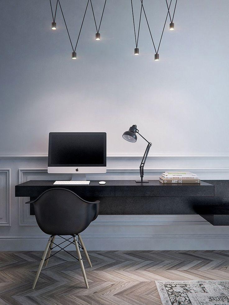 A continuación de la chimenea, el escritorio.