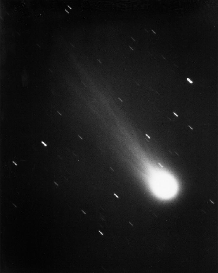 Halley's Comet by James W. Young, resident astronomer of JPL's Table Mtn Observatory in the San Bernardino Mtns, using the 24-in reflective telescope, 1/13/1986. Streaks caused by the exposure time are stars in Aquarius. Visible in the photo are the coma of gases & about 450,000 mi of the charged ion tail