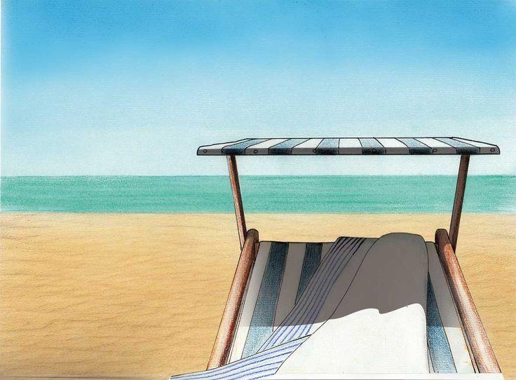 Spiaggia. Pen + soft pastels + Photoshop. #illustration #art #poetry #BettinaBaldassari