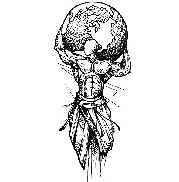 Sketchy Man Holding Earth Tattoo Design The best tattoo idea in sketch style. A man holding the whole Earth on his shoulder. This tattoo means strength, struggle and power. Symbolic Tattoos, Unique Tattoos, Cool Tattoos, Tattoo Designs, Tattoo Design Drawings, Oroboros Tattoo, Erde Tattoo, Atlas Tattoo, Manga Tattoo
