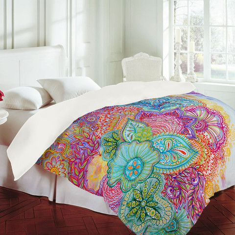 Bright, multi-colored bed spread