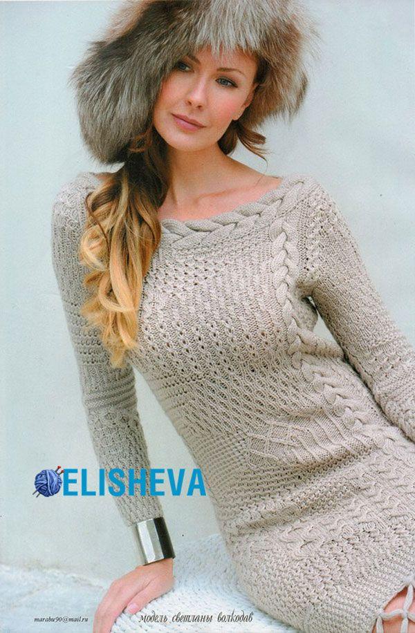 Платье в стиле пэчворк из микса узоров от Светланы Волкодав вязаное спицами | Блог elisheva.ru