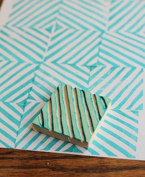 Pattern making by simply a rubber stamp carved by yourself