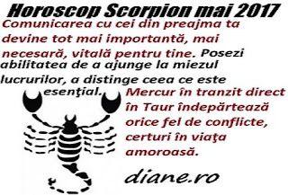 Potrivit horoscopului Scorpionului din luna mai 2017 este necesar să iţi ţii în frâu intensele impulsuri emoţionale, ai de profitat în urma ...