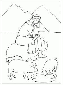 Блудный сын. Библейские раскраски скачать с http://alla-kon.livejournal.com/