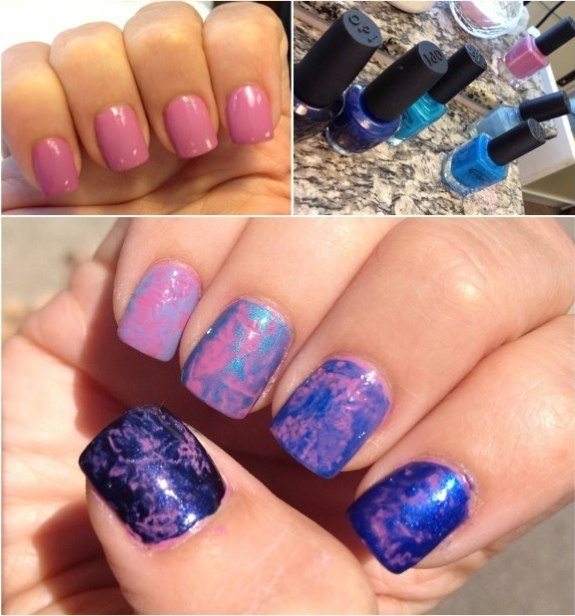 Ombre marble nails: Ombre Plastic, Beautiful Nails, Colorful Nails, Plastic Wrap, Marble Nails, How To Paint, Ombre Nails, Ombre Marble