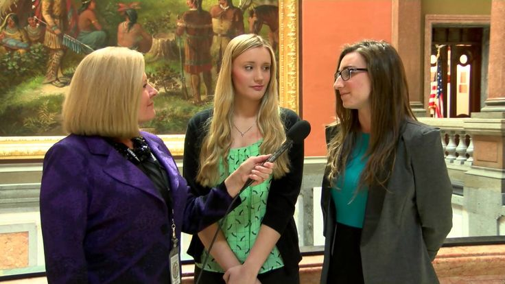 Senator Karen McConnaughay interviews students from the Youth Advisory C...