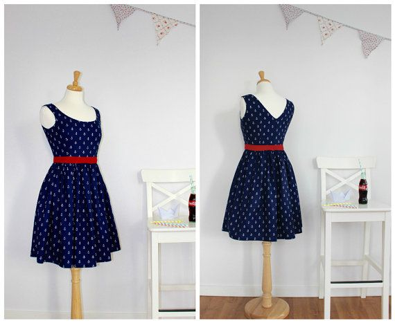 Anchor Dress with pockets - Nautical, Navy Blue, Sailor, Vintage Inspired