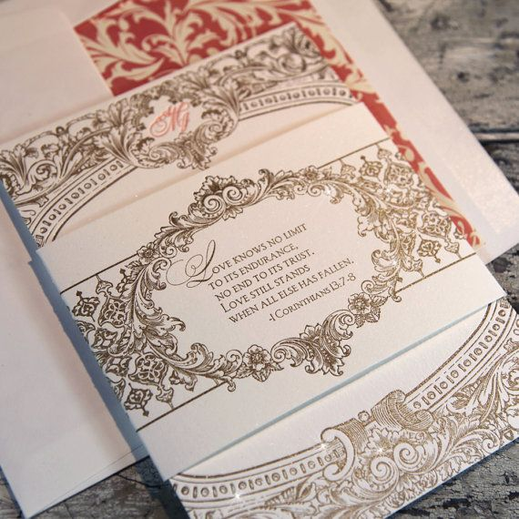 ROB REALLY LIKES THE OLD WESTERN THEME.. SO ITS A MIX OF THAT AND RUSTIC...WHICH WORK OUT WELL TOGETHER  Victoriana Baroque Letterpress Wedding Suite by BellaBaroqueDesign, $11.00