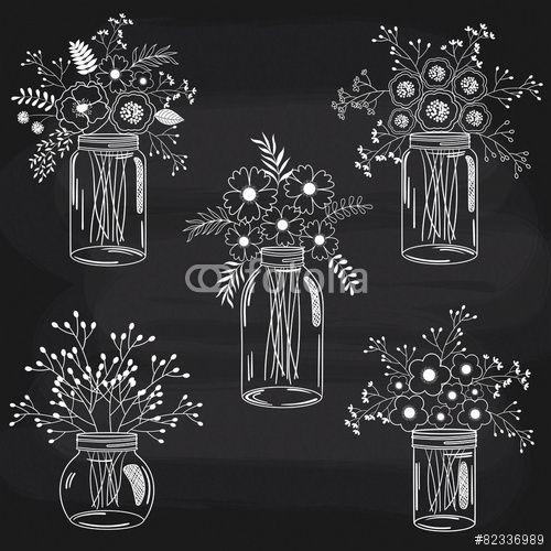 Vector: Chalkboard White Flowers In Jars