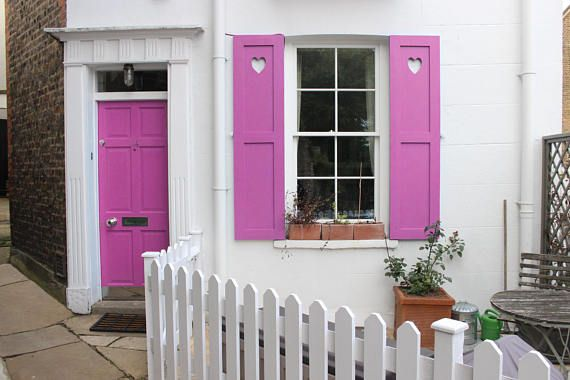 Heart Pink Window and Door House Wooden Wood Heart Decoration