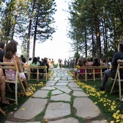 A Beautiful forest ceremony with sweet yellow and grey details
