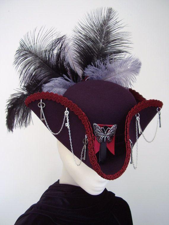 Lady Butterkeys purple chapeau TRICORNE steampunk cocarde sur Etsy, 99,14€