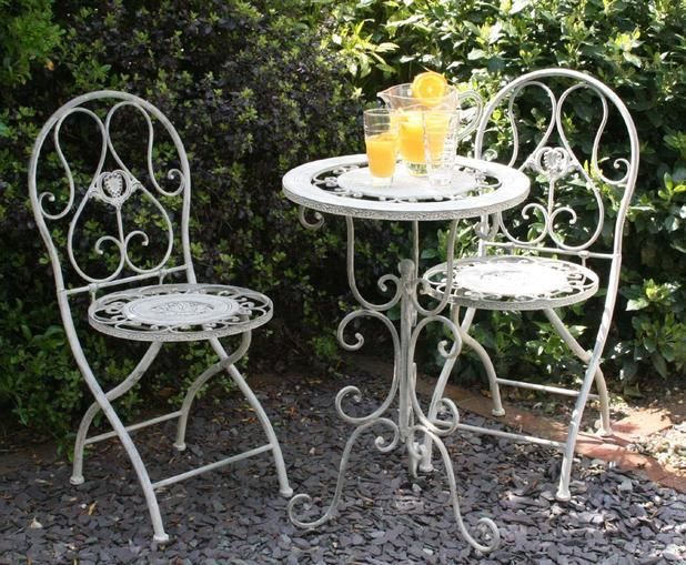 set of 3 iron garden furniture set shabbychic table and chairs patio bistro - Garden Furniture Shabby Chic
