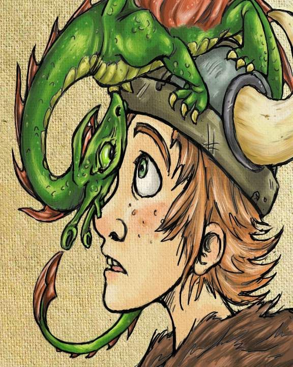 Hiccup and Toothless in the book version of How to Train Your