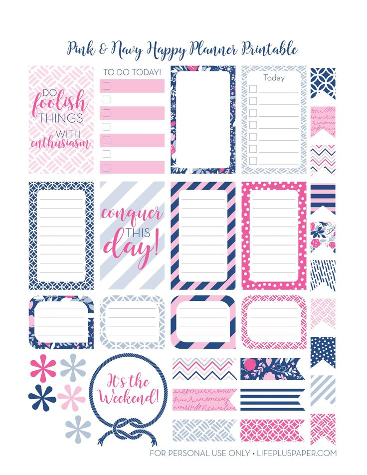 Free Happy Planner Printables---Navy-&-Pink | LifePlusPaper.com