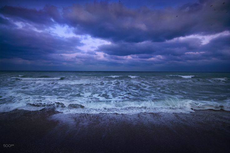 Black Sea - #beach #blacksea #clouds #dark #romania #sea #vamaveche #waves #wild