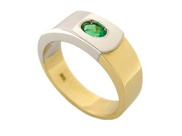Two tone men's ring with 0.66 Ct. oval shape natural emerald in 18K white and yellow gold