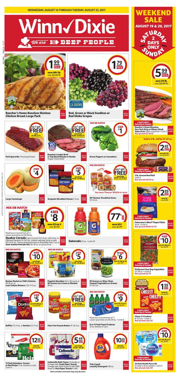 Winn-Dixie Weekly Ad August 16 - 22 #us #grocery savings #WinnDixie circular