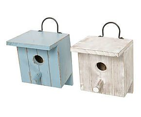 2 Nichoirs bois I, bleu et blanc - H20