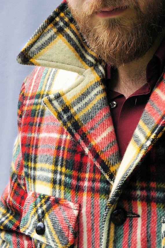 Vintage Men's Lakeland Plaid Wool Coat in Autumn Palette