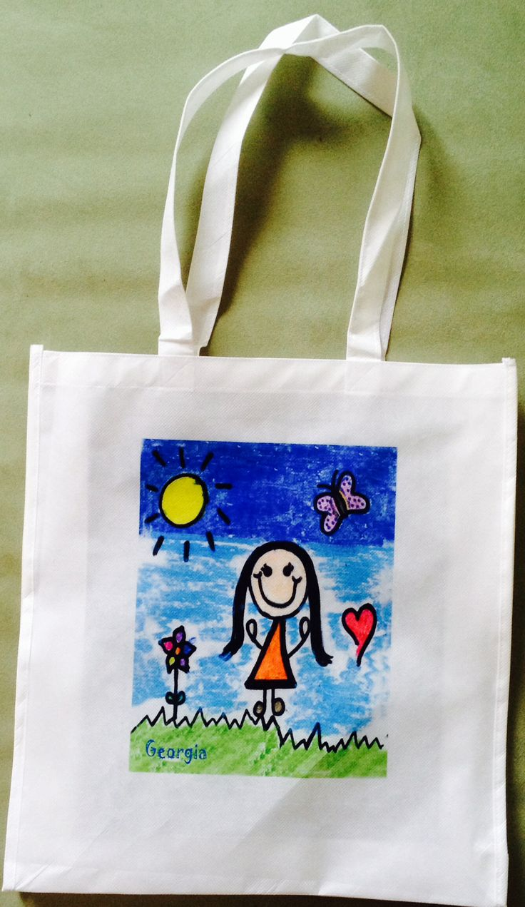 Personalised tote bag created from your child's art www.jennoli.com.au