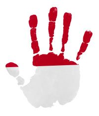 Handprints with Indonesia flag illustration