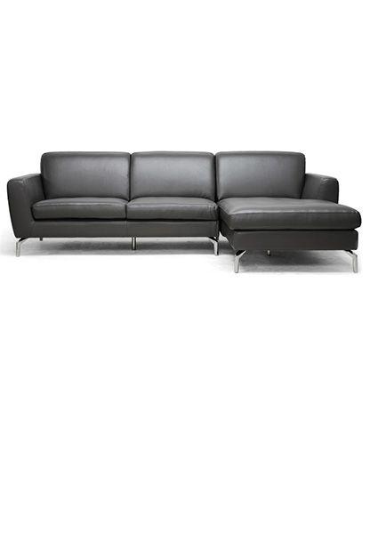 baxton studio donovan grey leather modern sectional sofa the donovan designer sectional sofa is everyones new favorite spot to relax
