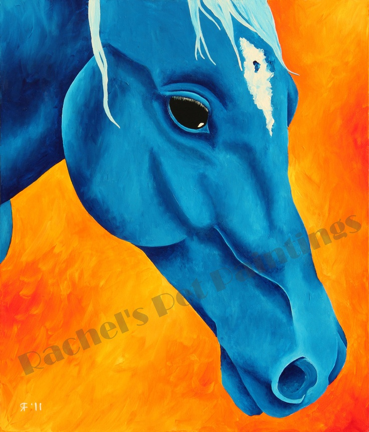Horse Art , Blue Horse Limited Edition Giclee Print , Equestrian Art , Horse Wall Art , Pop Art Print of Acrylic Painting. $30.00, via Etsy.