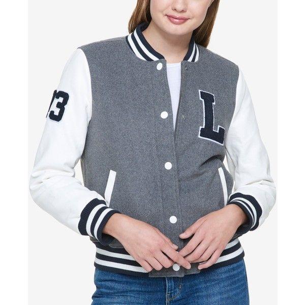 Levi's Varsity Bomber Jacket ($80) ❤ liked on Polyvore featuring outerwear, jackets, light grey multi, levi jacket, flight jackets, light grey jacket, light grey bomber jacket and varsity bomber jacket