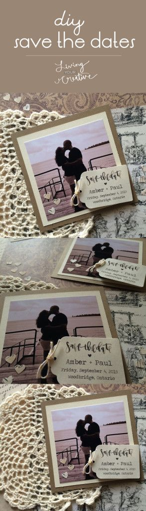 Make your own #DIY #rustic save the dates with this tutorial from Living YOUR Creative! Calligraphy by A Fabulous Fete