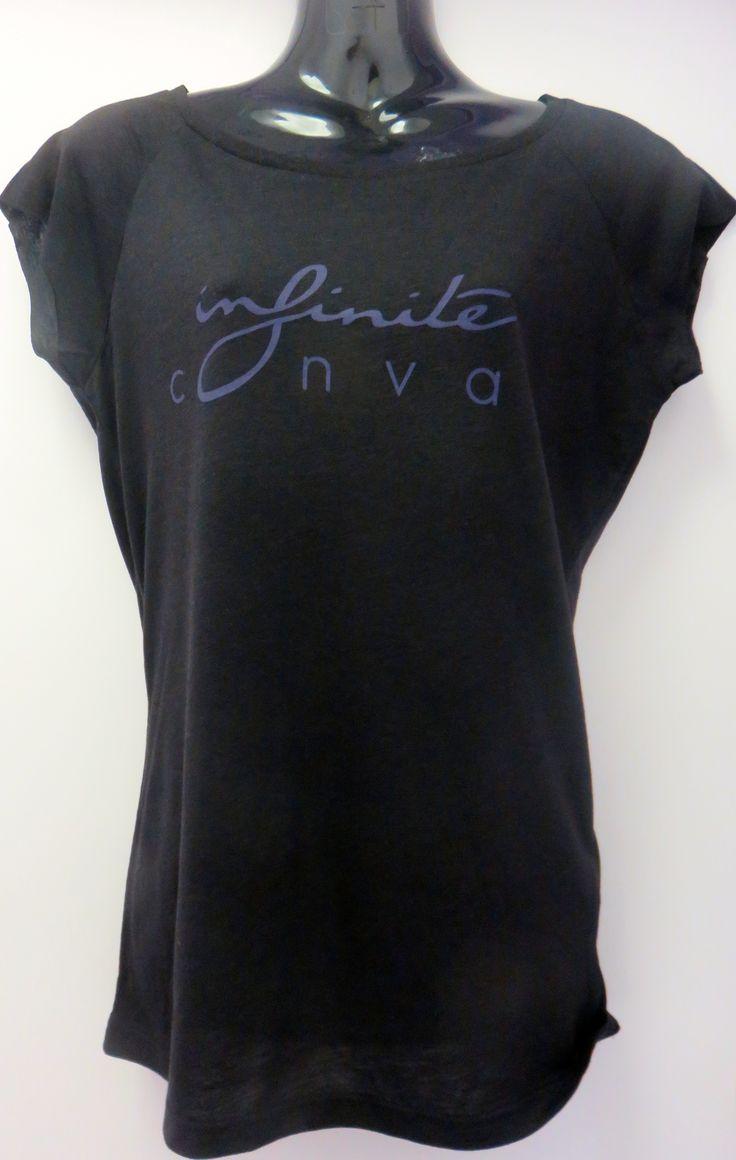 Women's black bamboo logo shirt